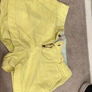 Yellow chino j crew shorts